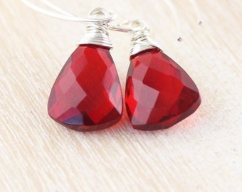 Garnet Red Quartz & Sterling Silver Earrings. Long Dangle Earrings. Wire Wrapped AAA Gemstone Jewelry for Women. Small Simple Drop Earrings
