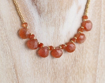 Sunstone, Miyuki Seed Bead & 18Kt Gold Filled Bib Necklace. Dainty Tiny Beaded Choker for Women. Delicate AAA Gemstone Boho Layering Jewelry