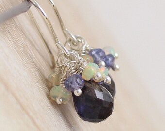 Iolite, Tanzanite & Ethiopian Welo Opal Cluster Earrings. Sterling Silver Drop Earrings. Blue AAA Gemstone Beaded Dangle Earrings for Women