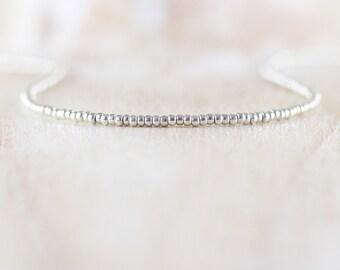 Miyuki Seed Bead & Sterling Silver Necklace. Dainty Tiny Small Beaded Choker. Long Layering Necklace. Women's Delicate Minimalist Jewellery