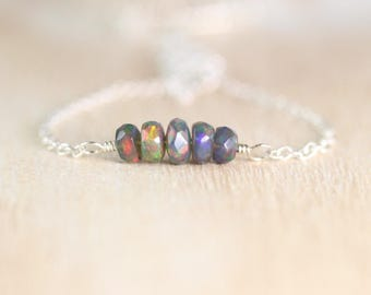Black Opal Bar Necklace in Sterling Silver, 18Kt Gold or Rose Gold Filled. Faceted Ethiopian Welo Opal Choker. Layering Jewelry for Women
