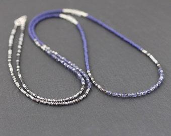 Iolite, Rainbow Moonstone & Miyuki Seed Bead Necklace. Dainty Blue Gemstone Multi Wrap Bracelet. Long Delicate Layering Necklace for Women