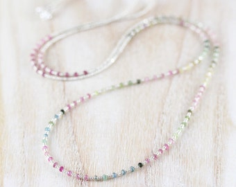 Watermelon Tourmaline, Seed Bead & Sterling Silver Necklace. Long Layering Necklace. Dainty Multi Color Gemstone Wrap Bracelet for Women