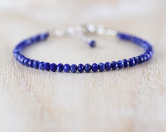 Lapis Lazuli & Sterling Silver Bracelet. Dainty Blue Gemstone Slim Beaded Stacking Bracelet. Simple Delicate Layering Jewelry for Women