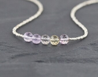 Ametrine, Seed Bead & Sterling Silver Necklace. Dainty Tiny Beaded Gemstone Choker. Delicate Layering Jewelry for Woman. Boho Girls Gift