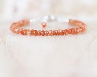 Sunstone Dainty Bracelet. Sterling Silver, Rose, Gold Filled. Slim Rondelle Beaded Stacking Bracelet. Delicate Gemstone Jewelry for Women