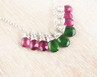 Watermelon Tourmaline & Sterling Silver Necklace. Rubellite Pink and Chrome Green Dainty Cluster Necklace. Womans Delicate Layering Jewelry