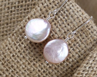 Natural Freshwater Coin Pearl Drop Earrings. Sterling Silver, Rose, Gold Filled. Dainty Pink Dangle Earrings for Women. Lever Back or Hooks