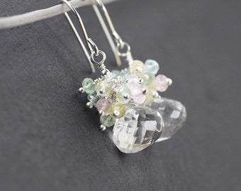 Aquamarine, Morganite & Sterling Silver Cluster Earrings. Natural Rock Crystal Drop Earrings. Clear Quartz Beaded Dangle Earrings for Women