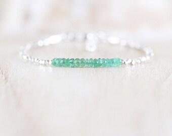Zambian Emerald, Sterling & Fine Silver Bracelet. Genuine Natural Emerald Dainty Bracelet. Karen Hill Tribe Silver Beaded Jewelry for Women
