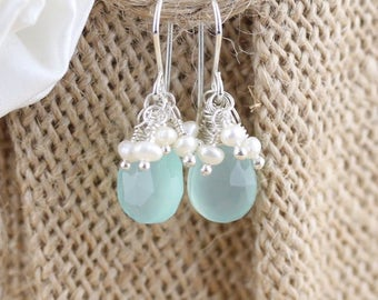 Aqua Chalcedony, Freshwater Pearl & Sterling Silver Cluster Earrings. Beaded Drop Earrings. Gemstone Dangle Earrings. Jewelry Gift for Women