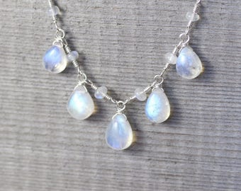 Rainbow Moonstone & Sterling Silver Bib Necklace. Blue Flash AAAA Gemstone Wire Wrapped Statement Necklace. Gift for Women. Artisan Jewelry