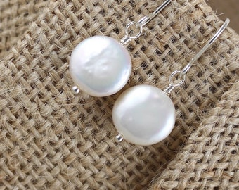 Freshwater Coin Pearl Drop Earrings in Sterling Silver, 18Kt Gold or Rose Gold Filled. Natural White Ivory Dainty Dangle Earrings for Women
