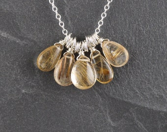 Golden Rutilated Quartz & Sterling Silver Cluster Necklace. Natural AAA Gemstone Charm Pendant. Boho Jewelry for Women. Wire Wrapped Jewelry