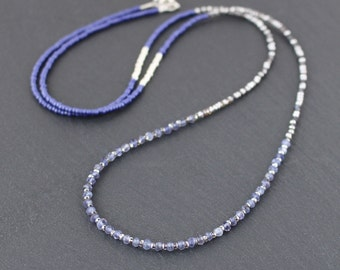Iolite, Rainbow Moonstone & Miyuki Seed Bead Necklace. Long Delicate Layering Necklace. Dainty Tiny Blue Gemstone Wrap Bracelet for Women