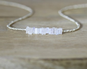 Rainbow Moonstone, Seed Bead & Sterling Silver Necklace. Blue Gemstone Heishi Square Choker. Dainty Tiny Beaded Layering Jewelry for Women