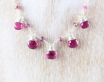 Rubellite Pink Tourmaline & Sterling Silver Bib Necklace. Dainty Natural Gemstone Necklace. Woman's Delicate Wire Wrapped Jewelry. Hand Made