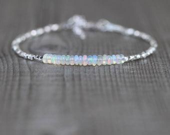 Ethiopian Welo Opal, Sterling & Fine Silver Bracelet. Dainty Gemstone Beaded Stacking Bracelet. Delicate Jewelry for Women. Karen Hill Tribe