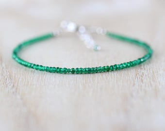 Chrome Green Tourmaline Dainty Bracelet in Sterling Silver, Gold or Rose Gold Filled. Delicate Beaded Gemstone Stacking Bracelet for Women