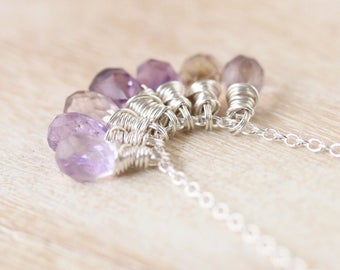 Ametrine Cluster Necklace in Sterling Silver, Yellow or Rose Gold Filled. Natural AAAA Gemstone Pendant For Woman. Wire Wrapped Bead Jewelry