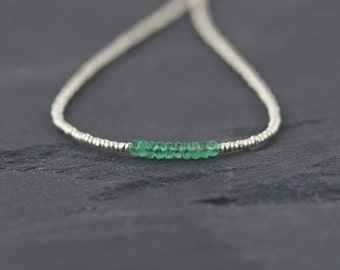 Zambian Emerald, Seed Bead & Sterling Silver Necklace. Custom Length Short Choker or Long for Layering. Dainty and Delicate Gemstone Jewelry