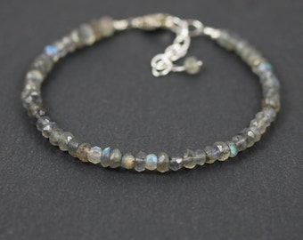 Labradorite Beaded Stacking Bracelet. Sterling Silver, Rose, Gold Filled. Flashy Blue AAA Gemstone Jewelry for Women. Boho Dainty Bracelet