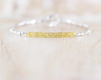 Padparadscha Yellow Sapphire, Sterling & Fine Silver Bracelet. Dainty Tiny Beaded Gemstone Stacking Bracelet for Women. Karen Hill Tribe