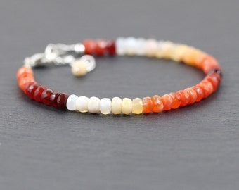 Mexican Fire Opal Beaded Bracelet. Sterling Silver, Rose, Gold Filled. Dainty Stacking Bracelet for Women. Ombre Red Orange Gemstone Jewelry