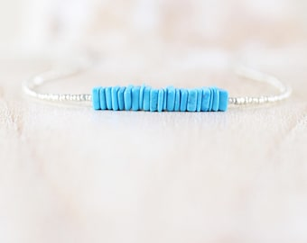 Turquoise, Czech Seed Bead & Sterling Silver Necklace, Dainty Heishi Square Gemstone Choker, Delicate Tiny Beaded Layering Jewelry for Women