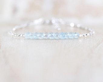 Sky Blue Topaz, Sterling & Fine Silver Bracelet, AAAA Semi Precious Gemstone with Karen Hill Tribe Silver Beads, Dainty Minimalist Jewelry