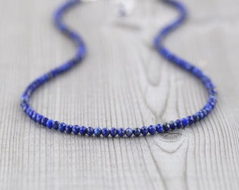 Lapis Lazuli Necklace in Sterling Silver, Rose or Gold Filled. Delicate Beaded Choker. Blue AAAA Gemstone Layering Necklace. Womans Jewelry