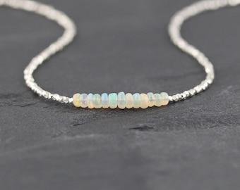 Ethiopian Welo Opal, Sterling & Fine Silver Necklace, Dainty Gemstone Choker, Delicate Karen Hill Tribe Silver Tiny Beaded Jewelry for Women
