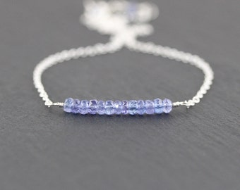 Tanzanite Bar Necklace in Sterling Silver, 14Kt Gold or Rose Gold Filled, Dainty Gemstone Choker, Simple Delicate Layering Jewelry for Women