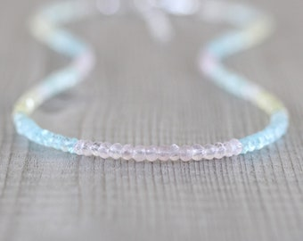 Aquamarine & Morganite Delicate Beaded Necklace in Sterling Silver, Gold or Rose Gold Filled, Dainty Multi Color Gemstone Choker for Women