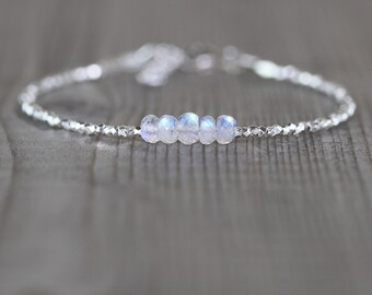 Rainbow Moonstone, Sterling & Fine Silver Bracelet with AAAA Blue Flash Gemstones, Dainty and Delicate Tiny Beaded Minimalist Jewelry