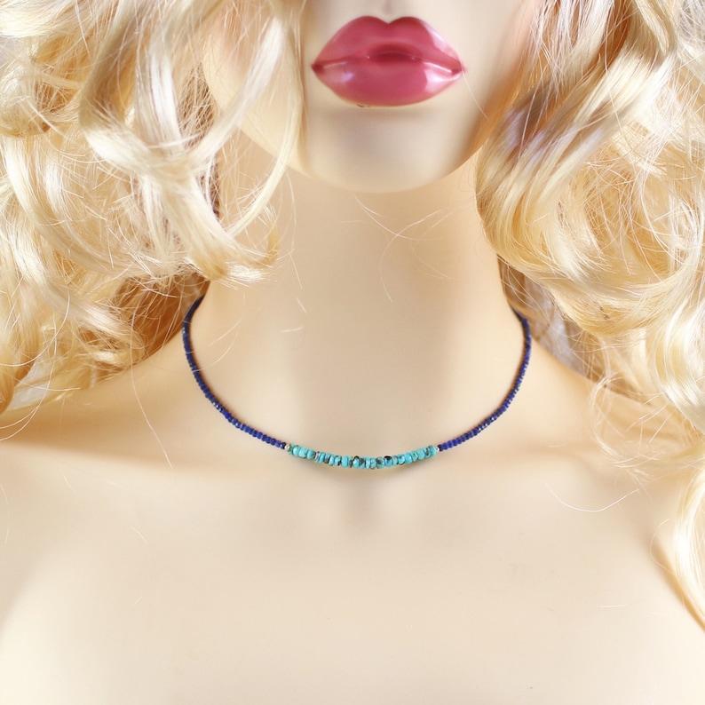 Dainty Blue Gemstone Beaded Choker for Women Rose Gold Filled Arizona Sleeping Beauty Turquoise /& Lapis Lazuli Necklace Sterling Silver