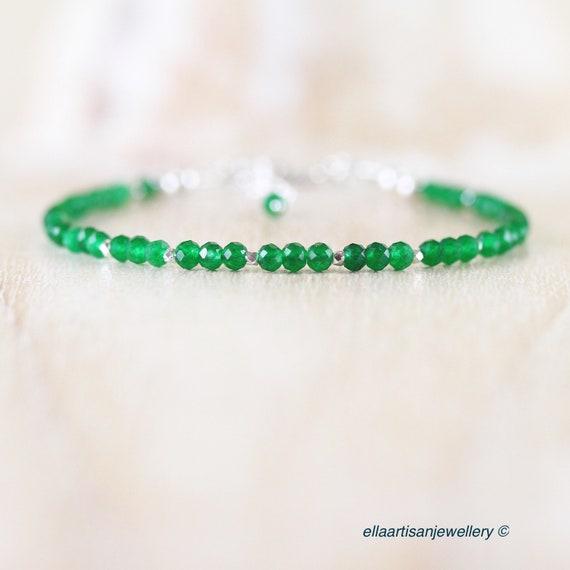 Natural Jade Dainty Bracelet. Sterling Silver, Rose, Gold Filled. Slim Thin Beaded Stacking Bracelet. Delicate Gemstone Jewelry for Women