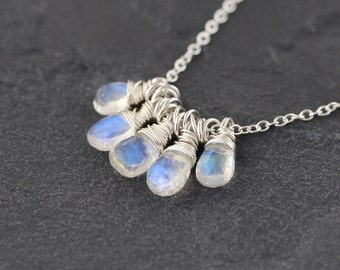 Rainbow Moonstone & Sterling Silver Necklace. Cluster Pendant. Flashy Blue Gemstone Jewelry. Delicate Wire Wrapped Bead Necklace. Jewellery