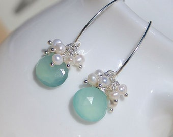 Aqua Chalcedony, Freshwater Pearl & Sterling Silver Cluster Earrings on Hook, Lever Back or Long Marquise Ear Wires, Boho Jewelry for Women