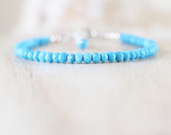 Turquoise Beaded Stacking Bracelet in Sterling Silver, Rose or Gold Filled. Dainty Gemstone Layering Jewelry. Womans, Boho, Hippie Jewellery
