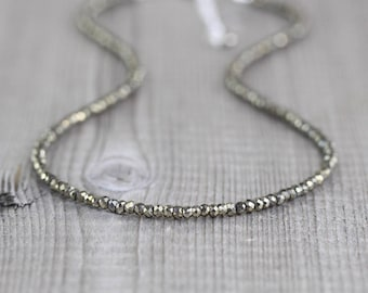 Pyrite Beaded Necklace in Sterling Silver, Gold or Rose Gold Filled, Custom Length Dainty Gemstone Choker, Long Layering Necklace for Women