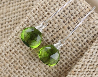 Peridot Quartz Earrings Wire Wrapped in Sterling Silver, Gold or Rose Gold Filled, Green Gemstone on Long Marquise, Hook or Lever Backs