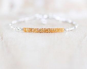 Hessonite Garnet, Sterling & Fine Silver Bracelet, Dainty Orange Gemstone Tiny Beaded Stacking Bracelet, Delicate Karen Hill Tribe Jewelry