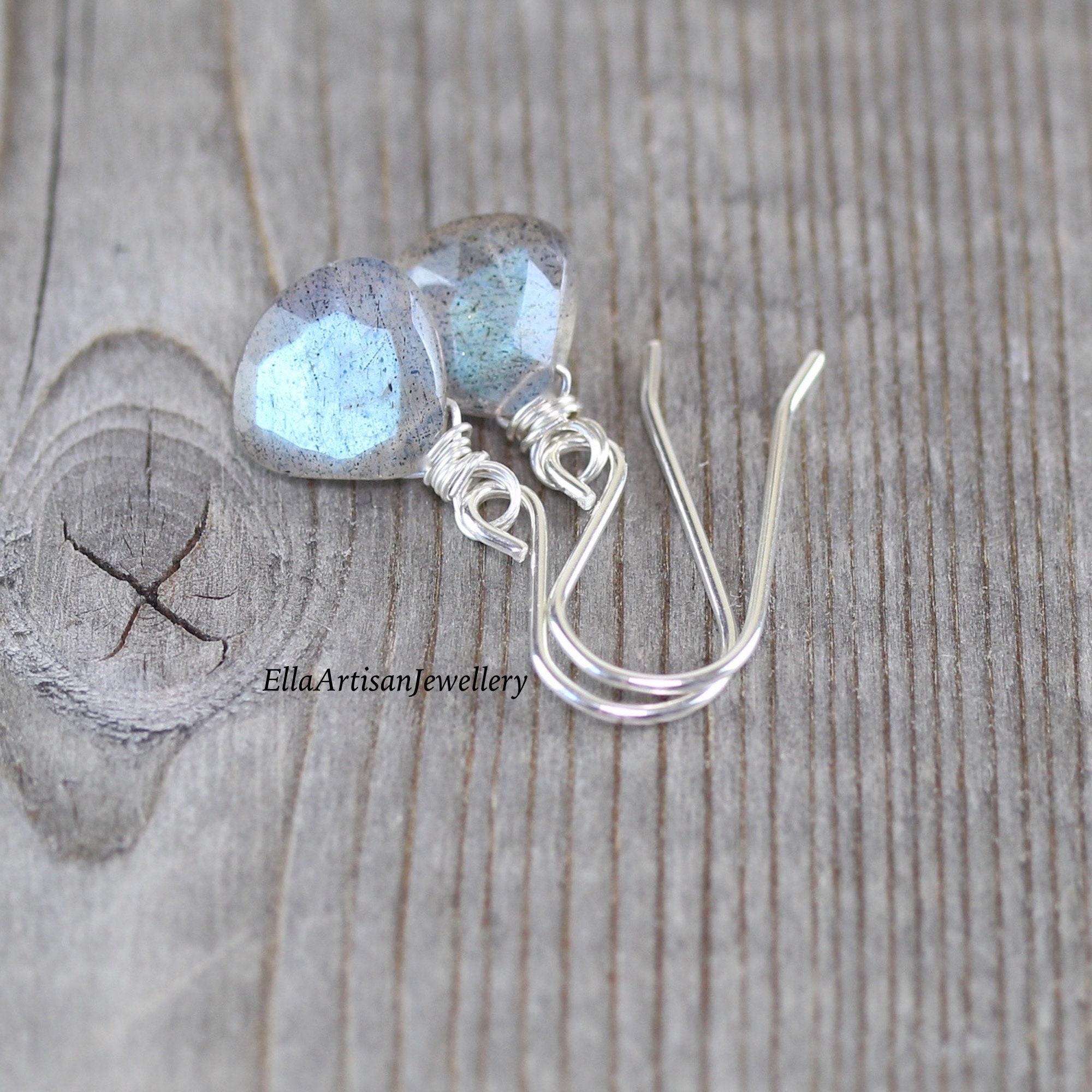 Sterling Silver Drop Earrings Gemstone Dangle Earrings Labradorite Earrings