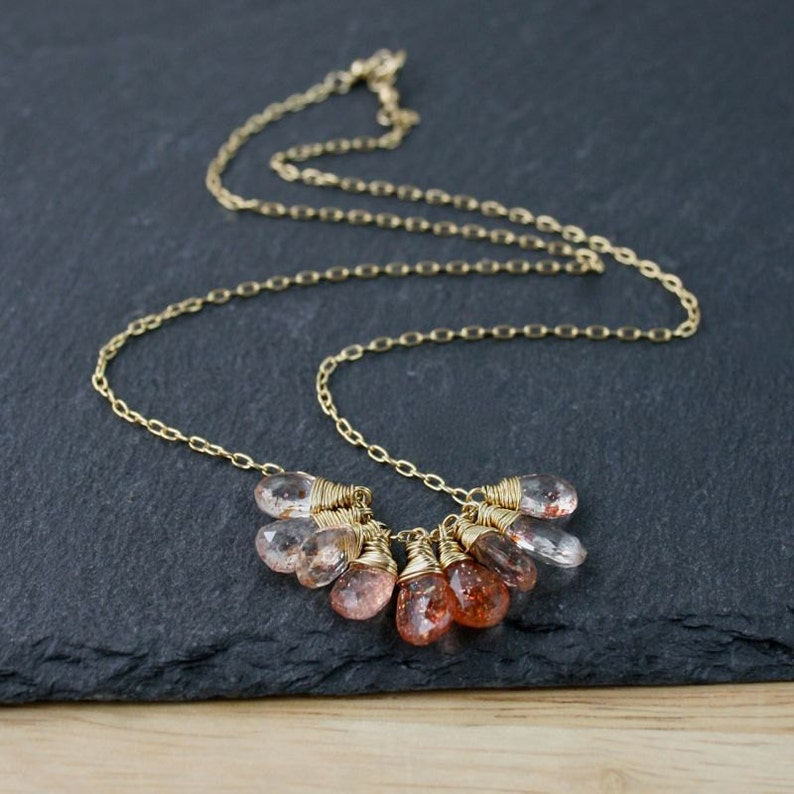 Oregon Sunstone /& 18Kt Gold Filled Cluster Necklace Sparkly Copper Orange AAA Gemstone Pendant Dainty Delicate Layering Jewelry for Women