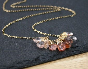Oregon Sunstone & 14Kt Gold Filled Cluster Necklace, Sparkly Copper Orange AAA Gemstone Pendant, Dainty Delicate Layering Jewelry for Women