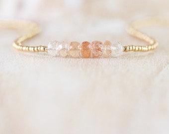 Oregon Sunstone, Miyuki Seed Bead & Gold Filled Necklace, Delicate Gemstone Choker, Dainty Tiny Beaded Layering Necklace, Jewelry for Women