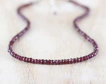Rhodolite Garnet Beaded Necklace in Sterling Silver, Gold or Rose Gold Filled, Dainty Pink Gemstone Choker, Long Delicate Layering Necklace