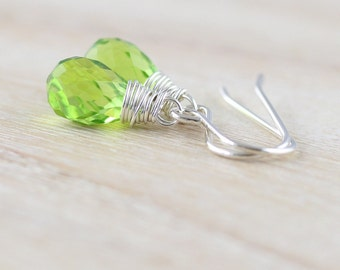 Peridot Quartz Faceted Teardrop Earrings in Sterling Silver, Gold or Rose Gold Filled. AAA Gemstone, Wire Wrapped Jewelry for Women