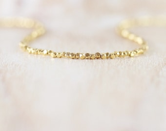 14Kt Yellow Gold Vermeil Dainty Beaded Necklace, Custom Length Choker or Long Delicate Layering Necklace, Fine Jewelry for Women